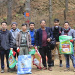 Bhutan hiking trail cleaning camping